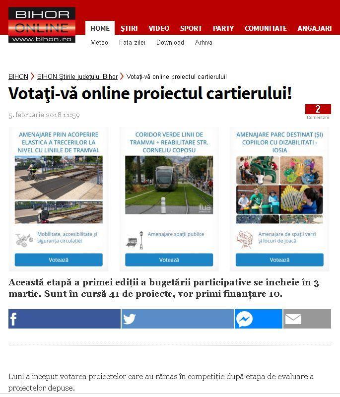 Votaţi vă online proiectul cartierului BIHON